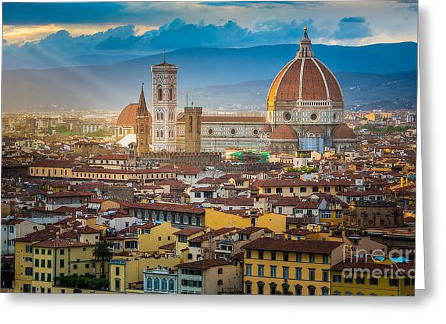 Italian Sunset Greeting Cards - Firenze Duomo Greeting Card by Inge Johnsson