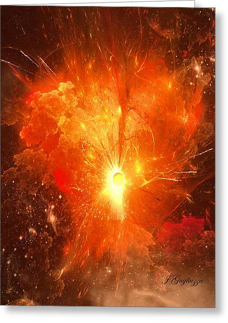 Fractal Orbs Greeting Cards - First Appearance  Greeting Card by Jean Gugliuzza