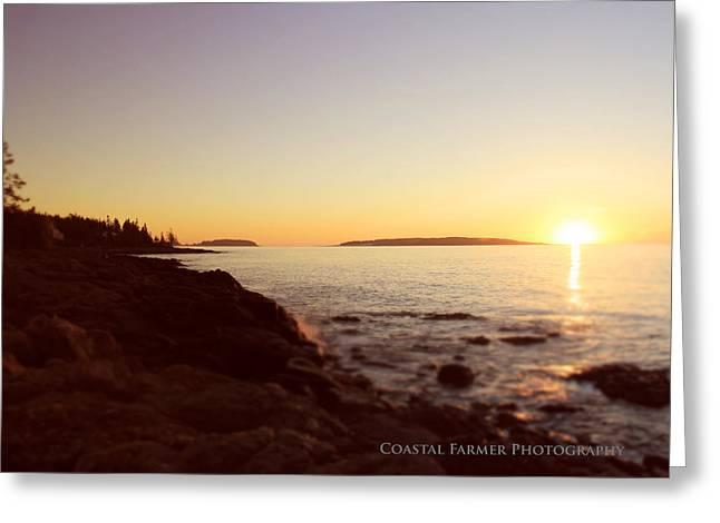 Coastal Maine Greeting Cards - First Light Greeting Card by Becca Brann