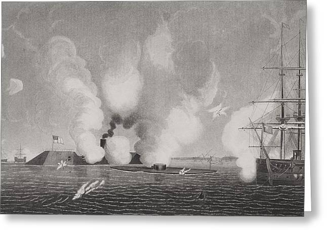 Us Navy Drawings Greeting Cards - First Naval Combat Between Iron Greeting Card by Ken Welsh