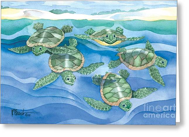 Ocean Turtle Paintings Greeting Cards - First Swim Greeting Card by Paul Brent