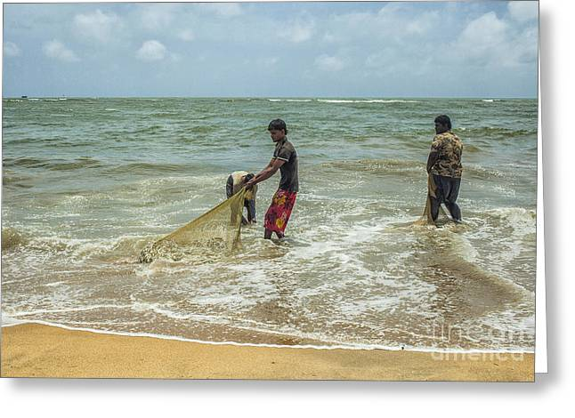 Fishermen Cleaning Nets Greeting Card by Patricia Hofmeester
