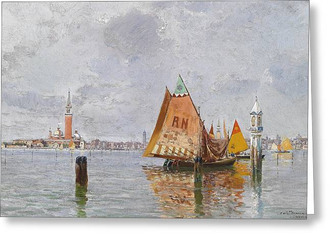 Fishing Boats In The Lagoon Of Venice Greeting Card by Carlo Brancaccio