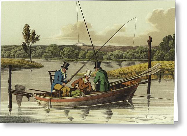 Fishing In A Punt  Greeting Card by Henry Thomas Alken