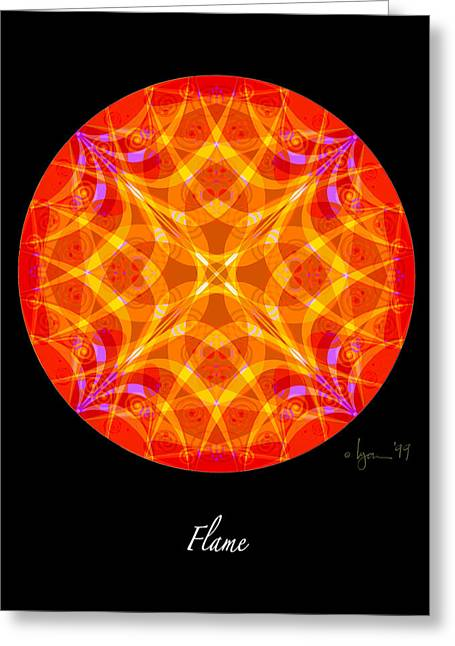 Survivor Art Greeting Cards - Flame Greeting Card by Angela Treat Lyon