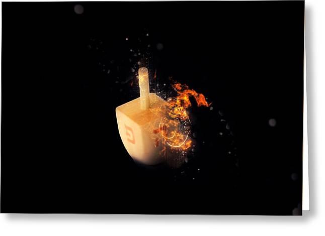 flaming Dreidel Greeting Card by Ilan Rosen