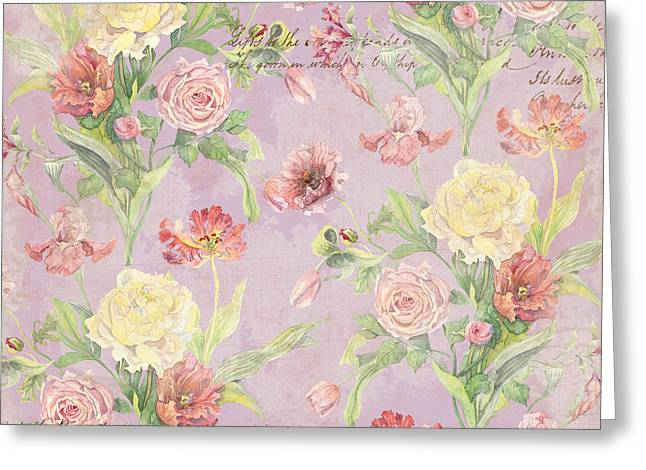 Fleurs De Pivoine - Watercolor In A French Vintage Wallpaper Style Greeting Card by Audrey Jeanne Roberts