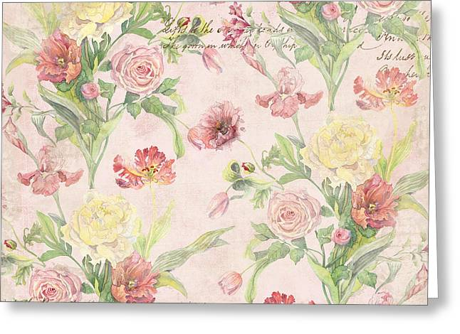 Butterflies Paintings Greeting Cards - Fleurs de Pivoine - Watercolor w Butterflies in a French Vintage Wallpaper Style Greeting Card by Audrey Jeanne Roberts