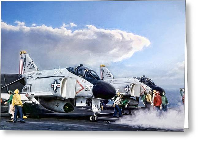 Flight Deck Greeting Card by Peter Chilelli