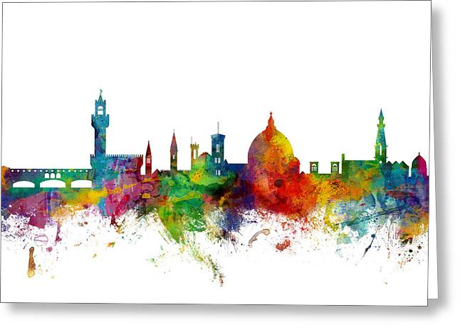 Florence Greeting Cards - Florence Italy Skyline Greeting Card by Michael Tompsett