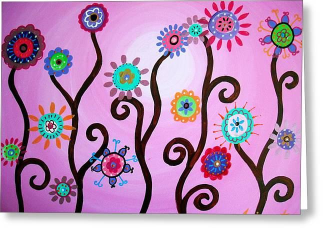 Flower Fest Greeting Card by Pristine Cartera Turkus