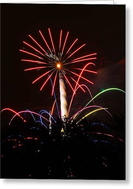 Pyrotechnics Greeting Cards - Flower Fire Greeting Card by Keith Brodeur