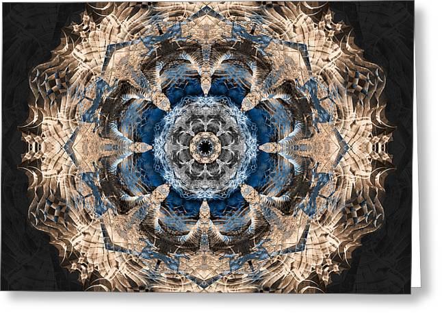 Sacred Digital Greeting Cards - Flower Mandala Greeting Card by Filippo B
