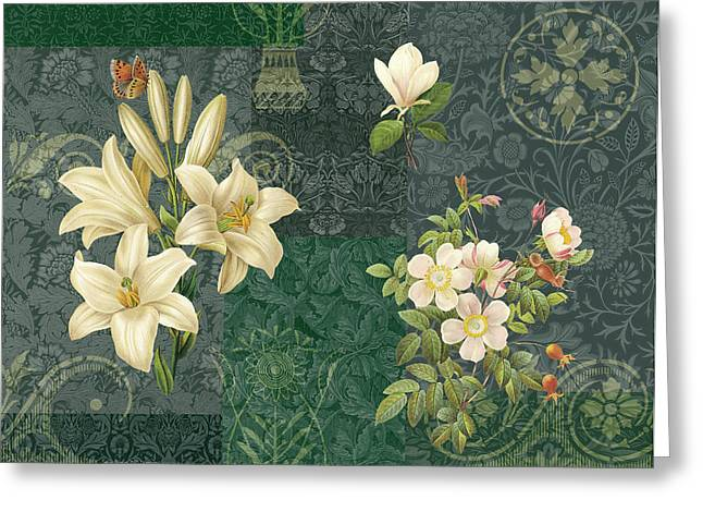 Tapestries Greeting Cards - Flower Patchwork 2 Greeting Card by JQ Licensing