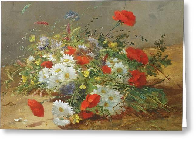 Flower Study Greeting Card by Eugene Henri Cauchois