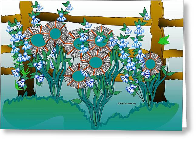 Fantasy Greeting Cards - Flowers and  fence Greeting Card by Gary Kennedy