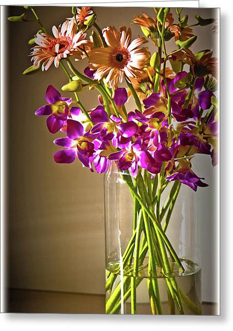 Glass Vase Greeting Cards - Flowers Greeting Card by Charuhas Images