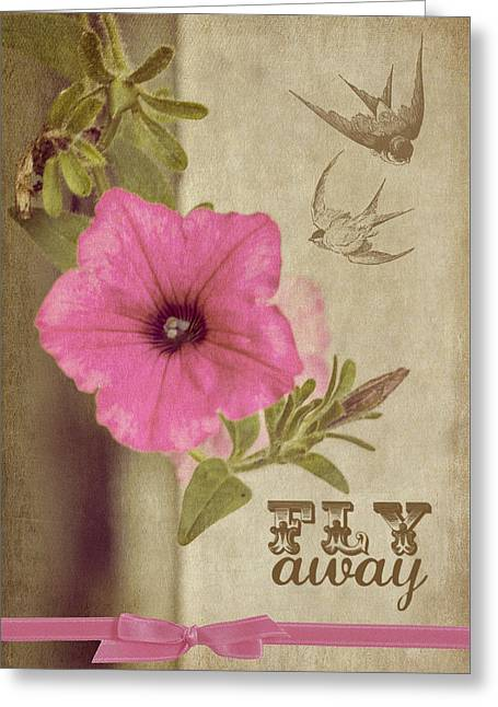 Texting Greeting Cards - Fly Away Greeting Card by Cathy Kovarik