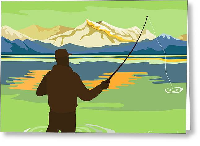 Lake Greeting Cards - Fly Fisherman Casting Greeting Card by Aloysius Patrimonio