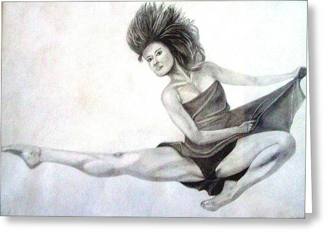 Ballet Dancers Drawings Greeting Cards - Flying Greeting Card by Gary Stull