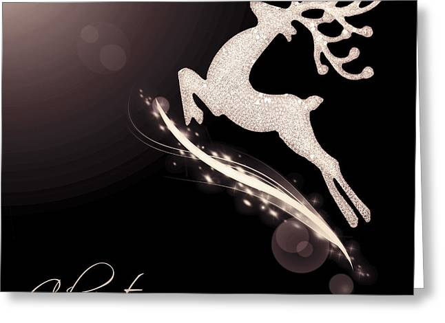 Rudolph Greeting Cards - Flying Santas reindeer Greeting Card by Anna Omelchenko