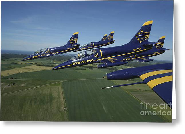 Flying Planes Greeting Cards - Flying With The Aero L-39 Albatros Greeting Card by Daniel Karlsson