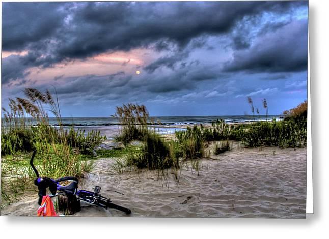 Moon Beach Greeting Cards - Folly Beach at Dusk Greeting Card by Drew Castelhano