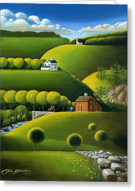 Willows Greeting Cards - Foothills of the Berkshires Greeting Card by John Deecken