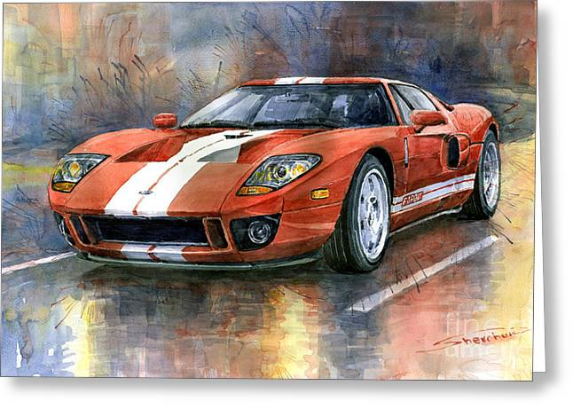 Transportation Greeting Cards - Ford GT 40 2006  Greeting Card by Yuriy  Shevchuk