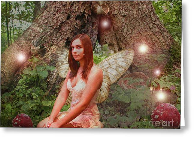 Magickal Greeting Cards - Forest Fairy Greeting Card by Patricia Ridlon