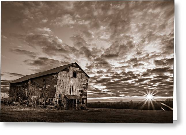 Tin Roof Greeting Cards - Forgotten Dreams on Pickup Hill - BW Greeting Card by Chris Bordeleau