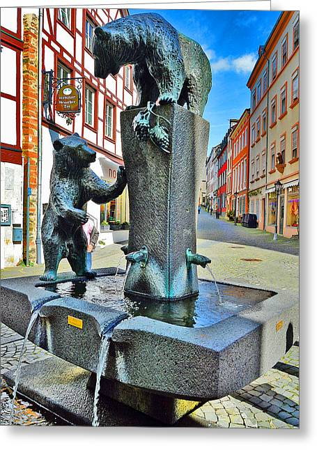 Rudolph Greeting Cards - Fountain. Bernkastel-kues. Germany. Greeting Card by Andy Za