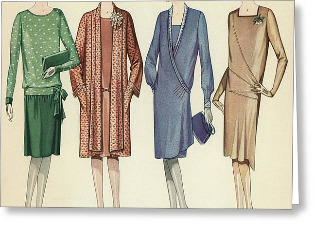 Four Flappers Modelling French Designer Outfits, 1928  Greeting Card by American School