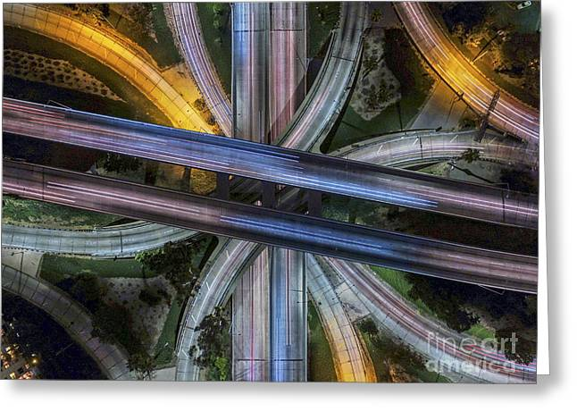 La Downtown Greeting Cards - Four Level Interchange  Greeting Card by Art K