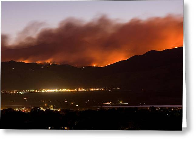 Colorado Wildfires Greeting Cards - Fourmile Canyon Fire Burning Above North Boulder Greeting Card by James BO  Insogna