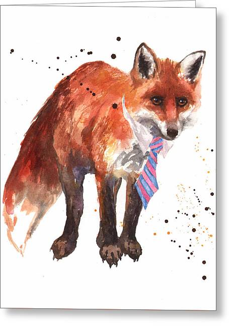 Funny Animal Greeting Cards - Fox Painting Greeting Card by Alison Fennell