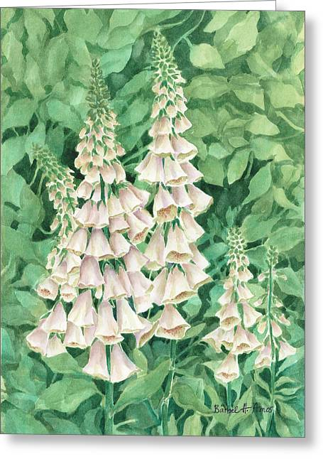 Foxglove Flowers Paintings Greeting Cards - Foxglove Greeting Card by Barbel Amos