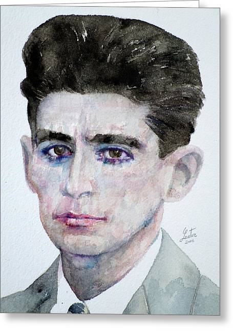 Franz Kafka - Watercolor Portrait Greeting Card by Fabrizio Cassetta