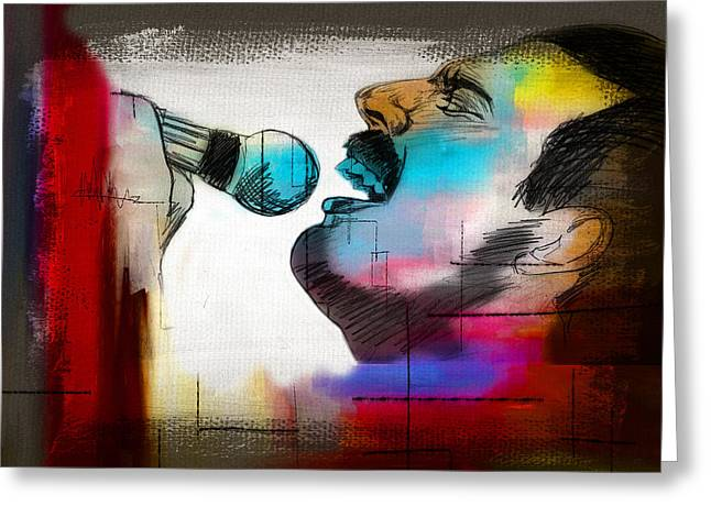 Modern Digital Art Digital Art Greeting Cards - Freddie Mercury Greeting Card by Mark Ashkenazi