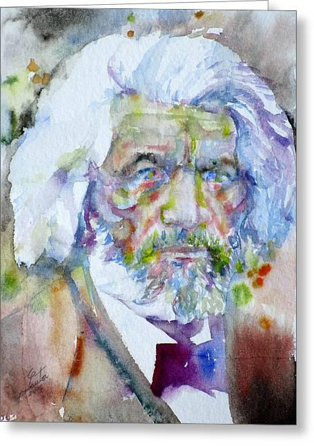Frederick Douglass - Watercolor Portrait Greeting Card by Fabrizio Cassetta