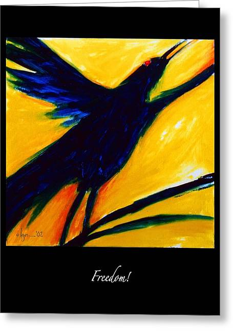 Birds Of Dreams Greeting Cards - Freedom Greeting Card by Angela Treat Lyon