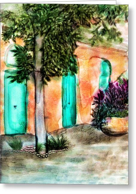 French Doors Mixed Media Greeting Cards - French Quarter Alley Greeting Card by Brenda Bryant