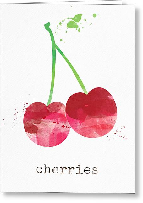 Red Leaves Mixed Media Greeting Cards - Fresh Cherries Greeting Card by Linda Woods