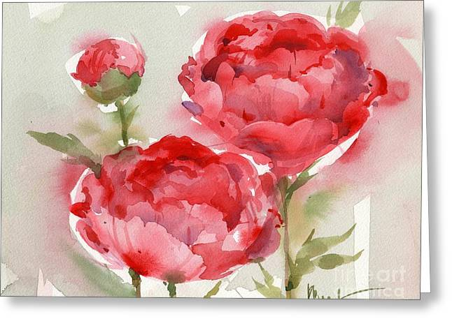 Fresh Green Paintings Greeting Cards - Fresh Peonies Greeting Card by Paul Brent