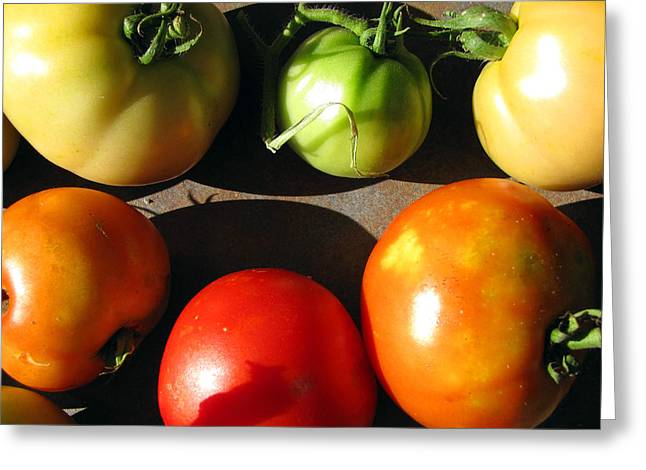 Green Fruit Greeting Cards - Fresh Tomatoes Greeting Card by Amy Tyler
