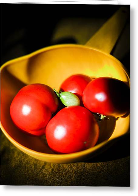 Vertcal Greeting Cards - Fresh Tomatoes in Colander Greeting Card by Donald  Erickson