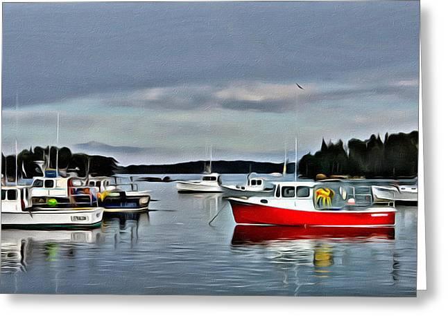 Coastal Maine Greeting Cards - Friendship Harbor Greeting Card by Judy Bernier