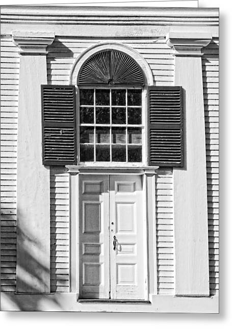 Old And New Greeting Cards - Front Door Old Country Church In Maine Greeting Card by Keith Webber Jr