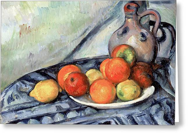 Table Greeting Cards - Fruit and a Jug on a Table Greeting Card by Paul Cezanne