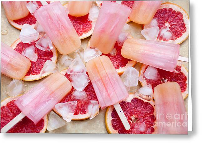 Sorbet Photographs Greeting Cards - Fruity pink popsicles Greeting Card by Kati Molin